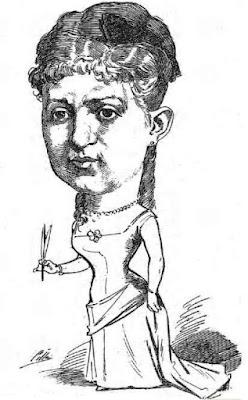 Caricatura de Rosario de Acuña publicada en Madrid Cromo en 1885