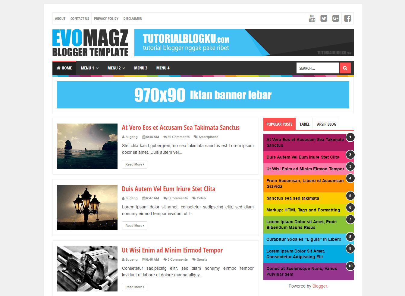 Template responsive evomagz, Evomagz blogger template, Seo friendly & Responsive Evomagz Template
