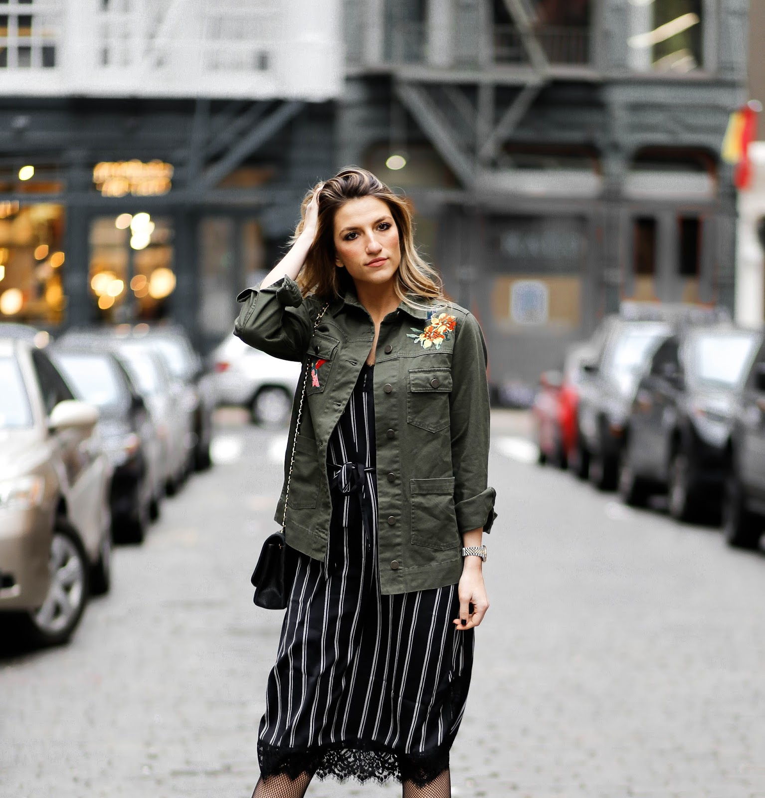 slip dress, embroidered military jacket