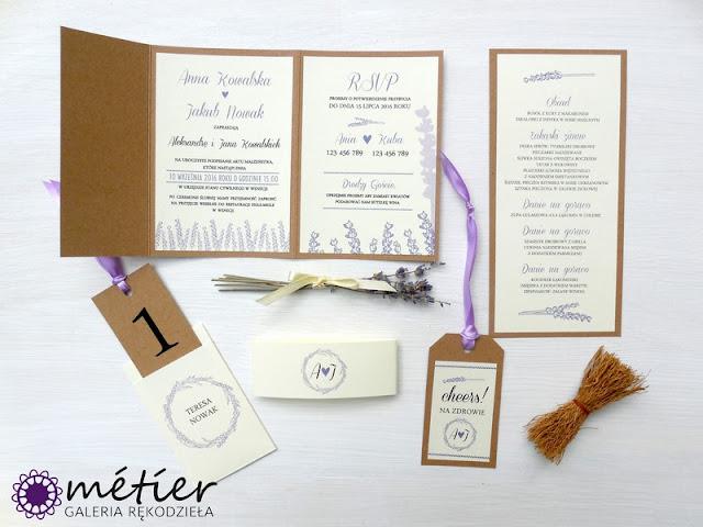 Poligrafia ślubna z motywem lawendy
