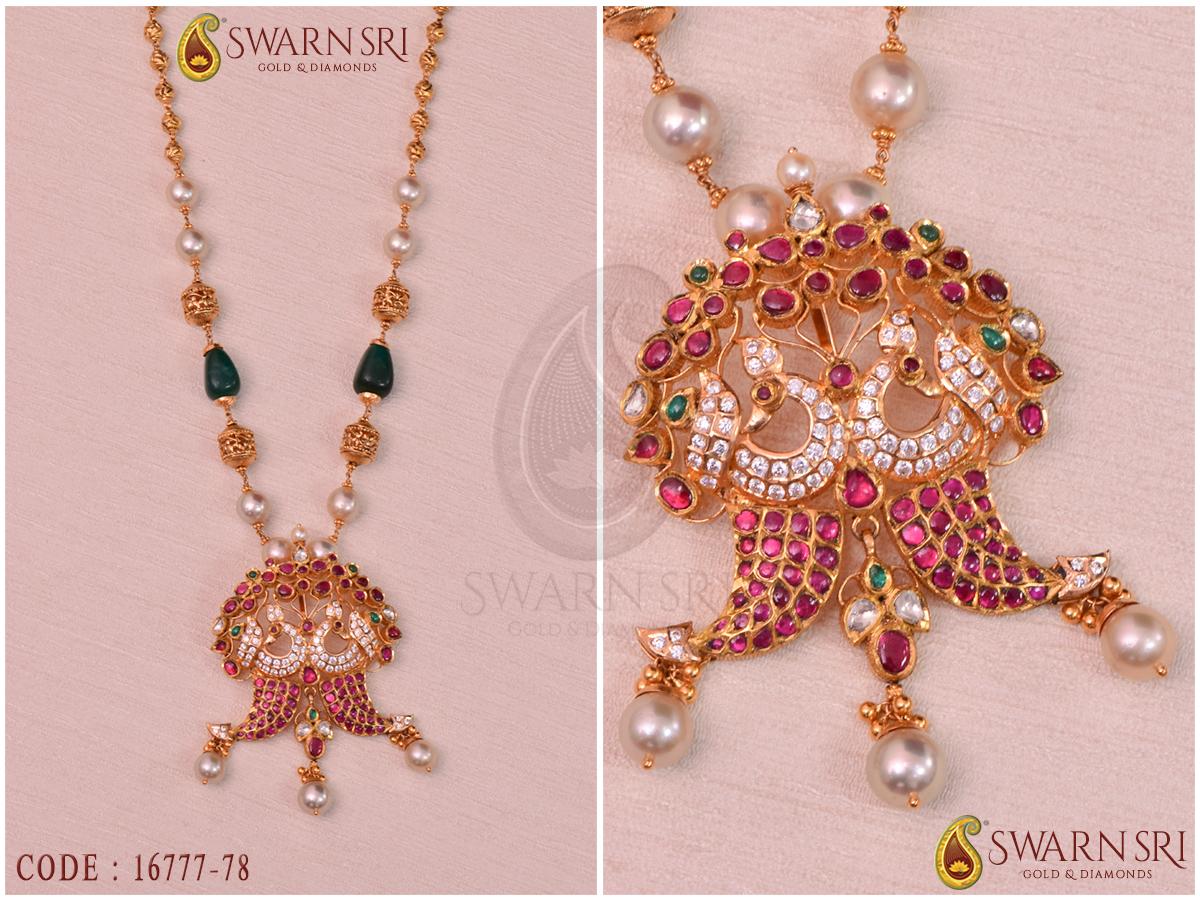Tiger Nail Style Burmese Rubies, Emeralds Pendant   Swarnsri Gold