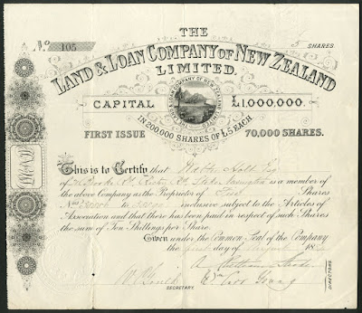 share from the Land and Loan Company of New Zealand, 1884