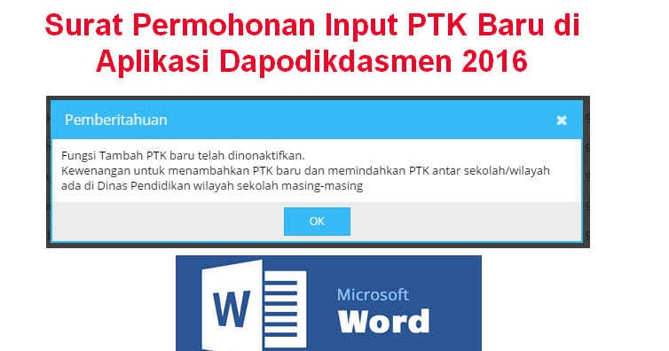 Surat Permohonan Input PTK Baru di Aplikasi Dapodikdasmen