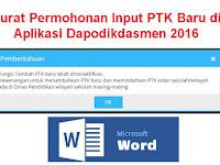Surat Permohonan Input PTK Baru di Aplikasi Dapodikdasmen 2016