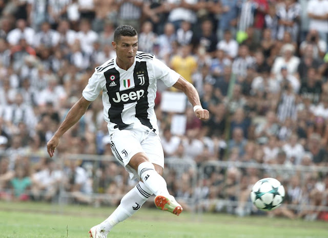 Cristiano Ronaldo in action for Juventus in a friendly