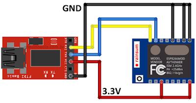 Circuito ESP-07 e conversor FTDI