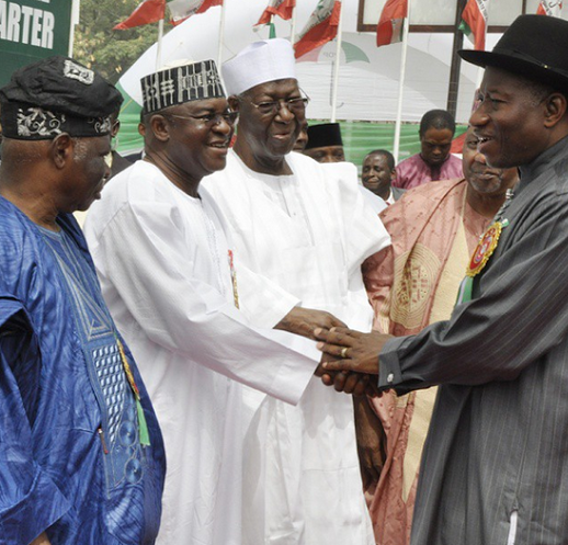Pres. Jonathan, David Mark and others pictured at the inauguration of the PDP Presidential Campaign Committee in Abuja