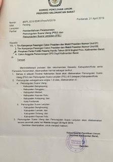 Akan diadakan di 2 TPS hari Kamis, 25 April 2019