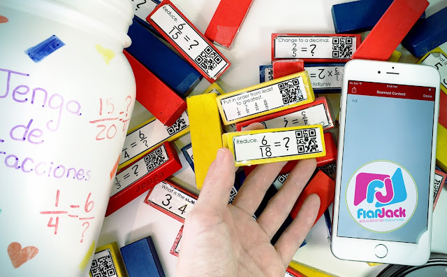 FREE QR Code Fraction Jenga Labels