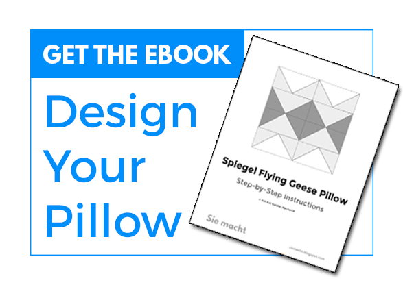 Get the free Spiegel pattern! Make your own flying geese block pillow. Click here to access the PDF ebook.