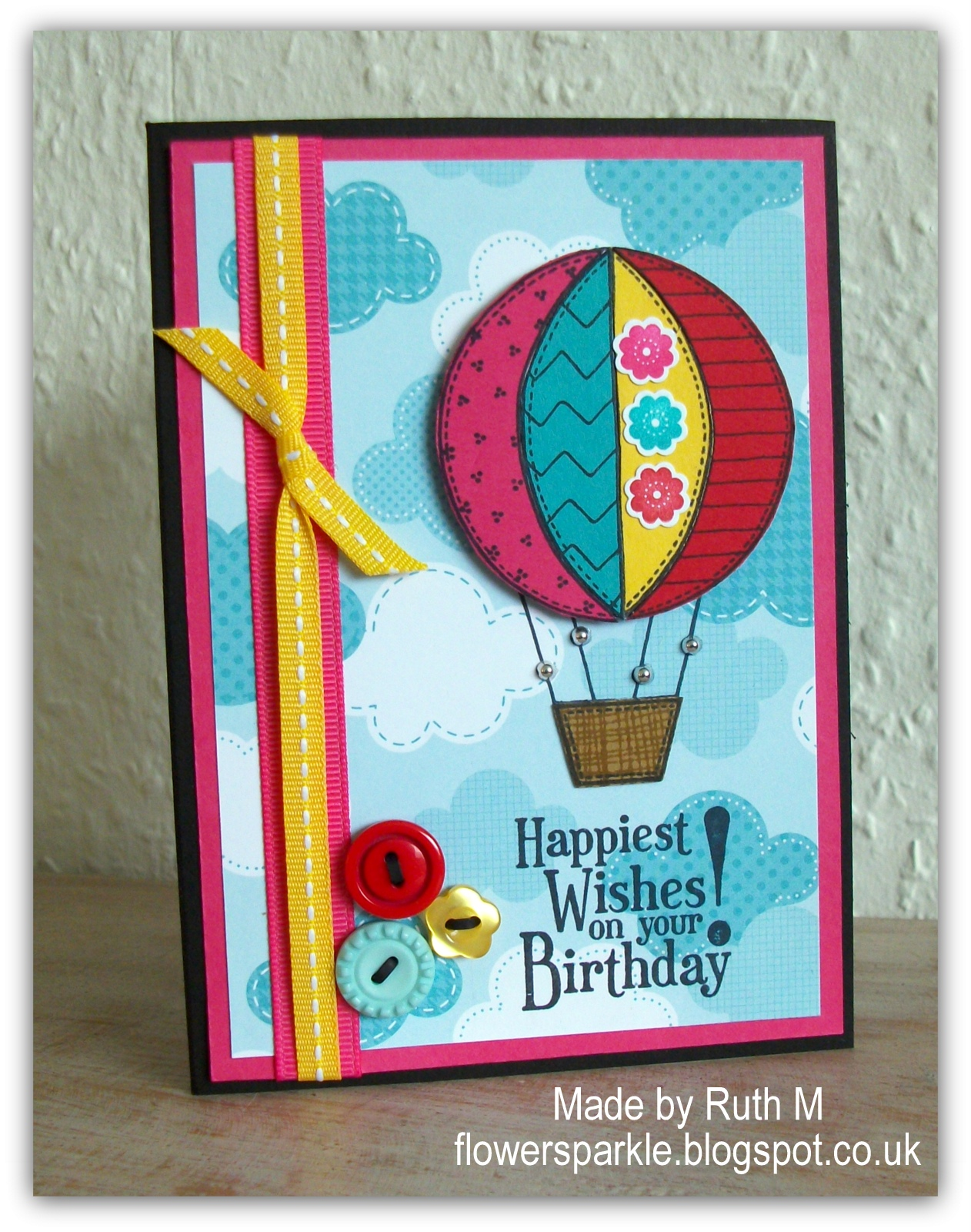 Flower Sparkle Two Paper Pieced Hot Air Balloon Cards