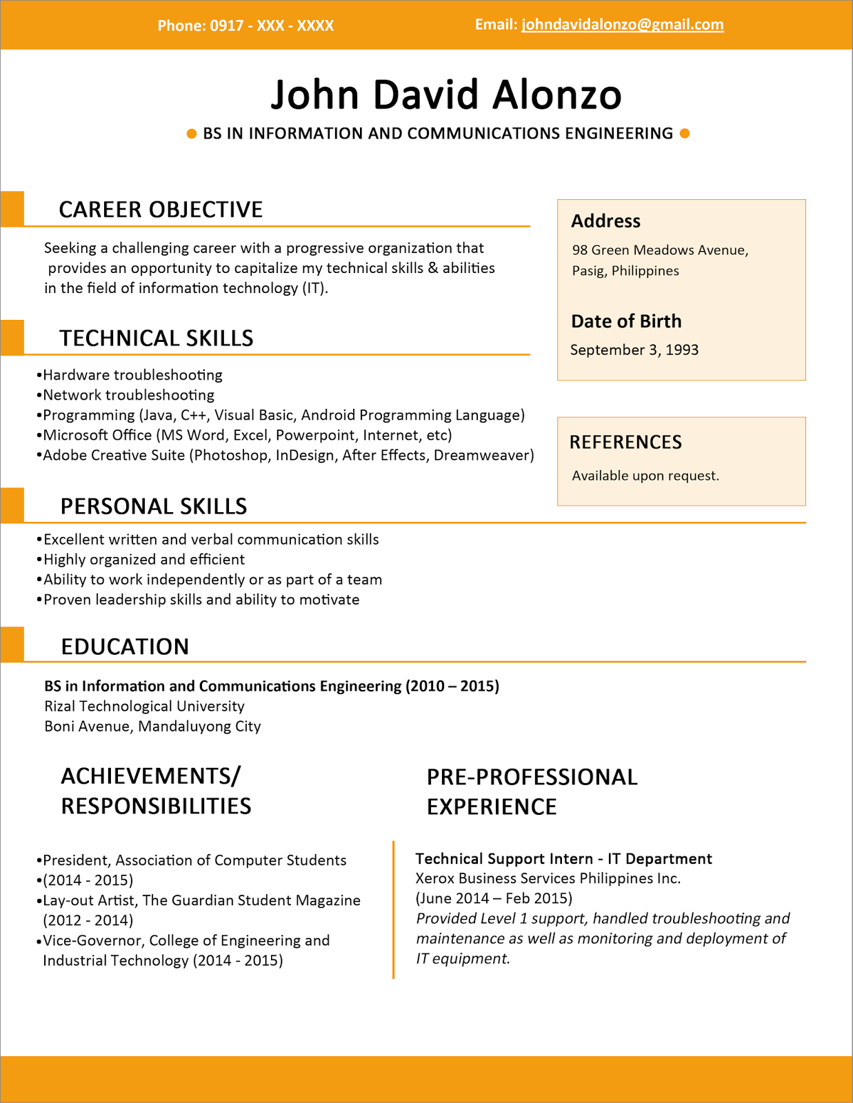 writing a resume template dadakan