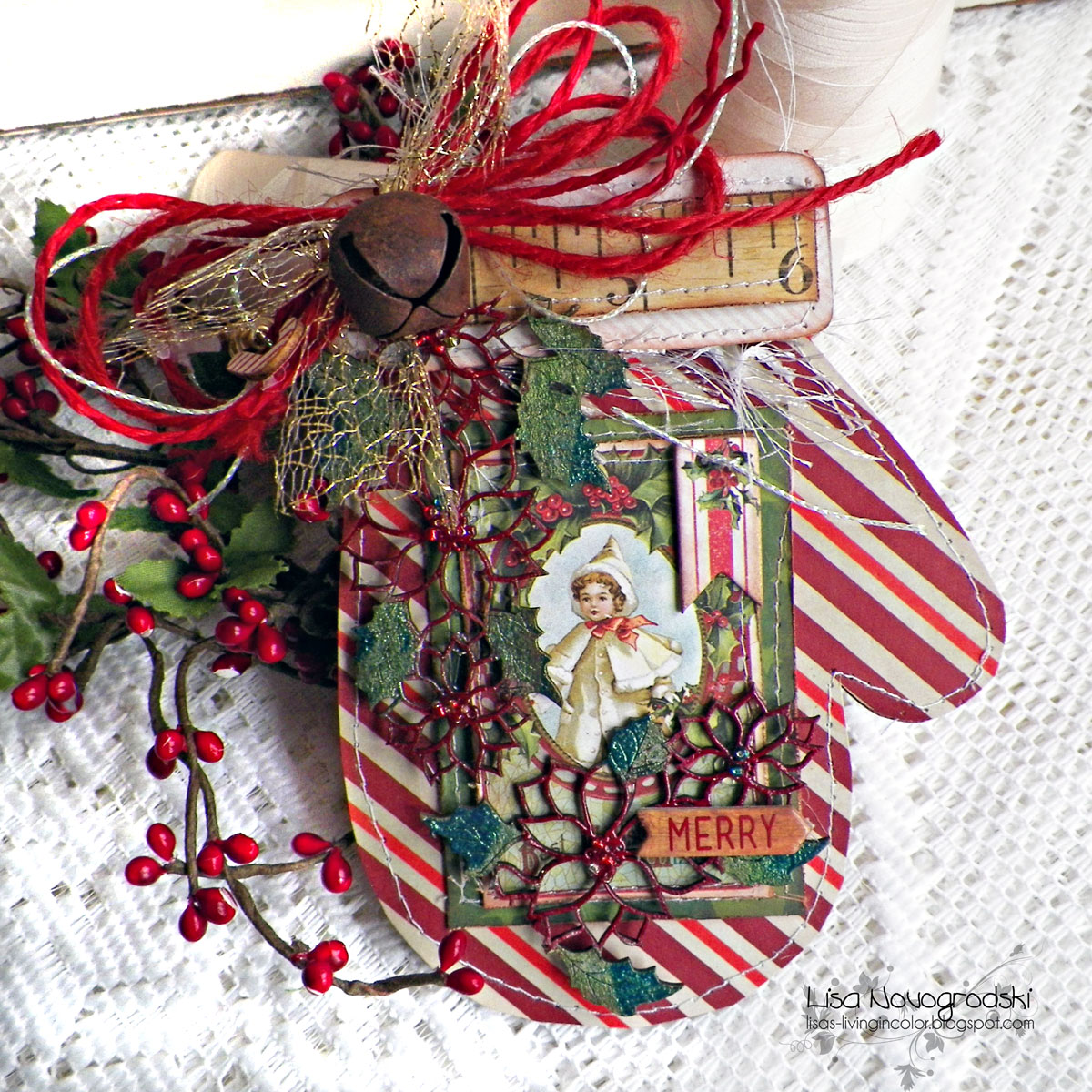 Merry Card by Lisa Novogrodski using BoBunny Christmas Collage