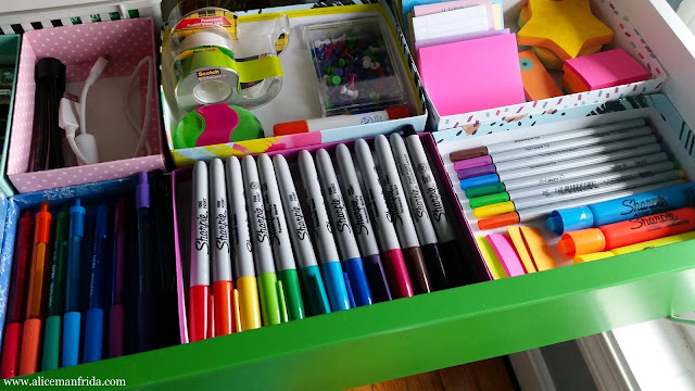 office, desk, organization, storage, pens, Sharpie, DIY, Birchbox, recycle, reuse, affordable