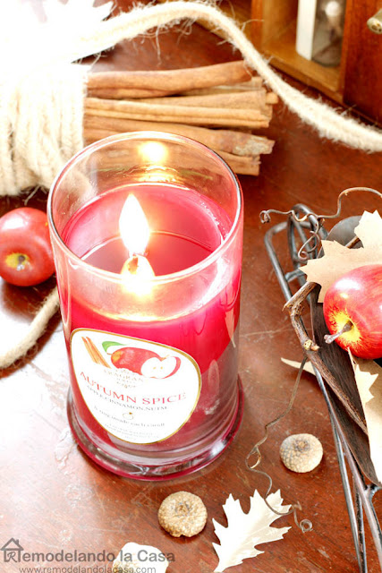 red candle, Fall, apples, cinnamon, tree branches