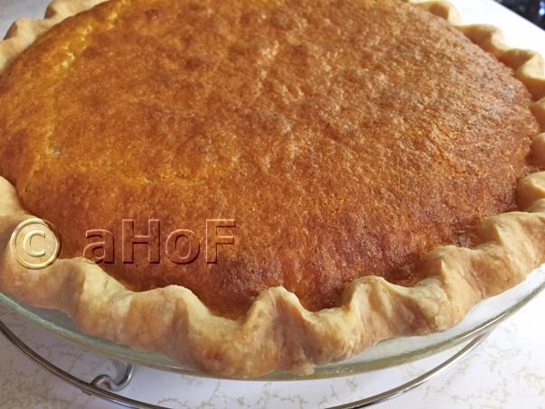 Bourbon Buttermilk Pie just baked