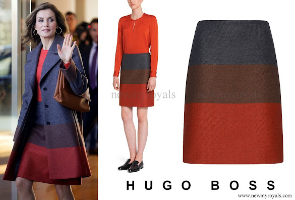 Queen Letizia wore HUGO BOSS Malivi Wool Blend Cashmere Striped Skirt