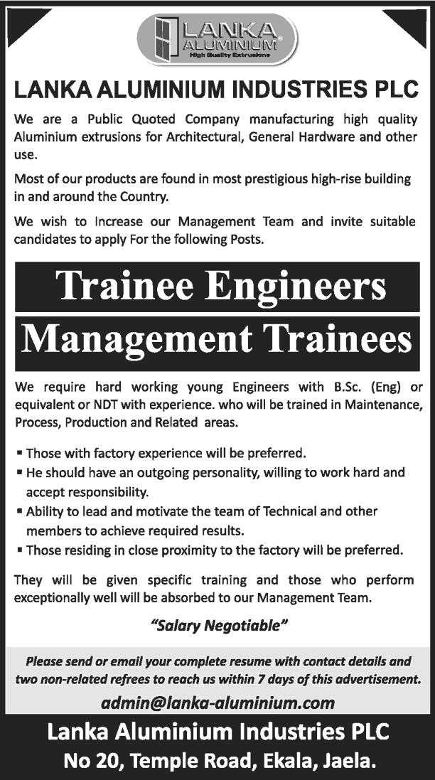 Vacancies] Management Trainees, Trainee Engineer - Lanka
