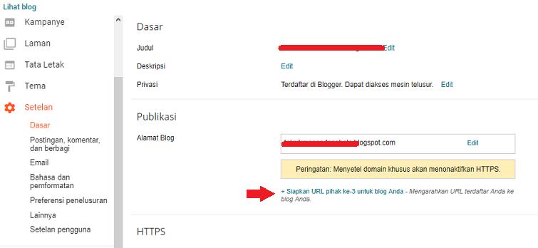 setting atau cara memasang domain freenom ke blogspot