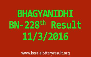 BHAGYANIDHI BN 228 Lottery Result 11-3-2016