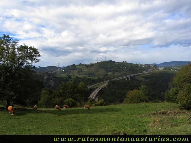 Ruta de Priañes: Vista de la autovía del occidente de Asturias