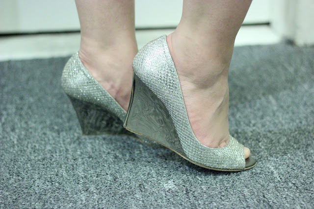 Jimmy Choo Champagne Glitter Wedges