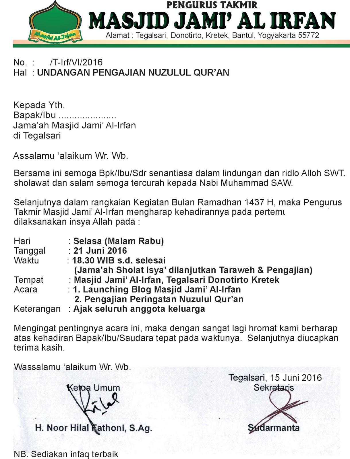 Contoh Surat Undangan Acara Nuzulul Quran Suratmenyurat Net