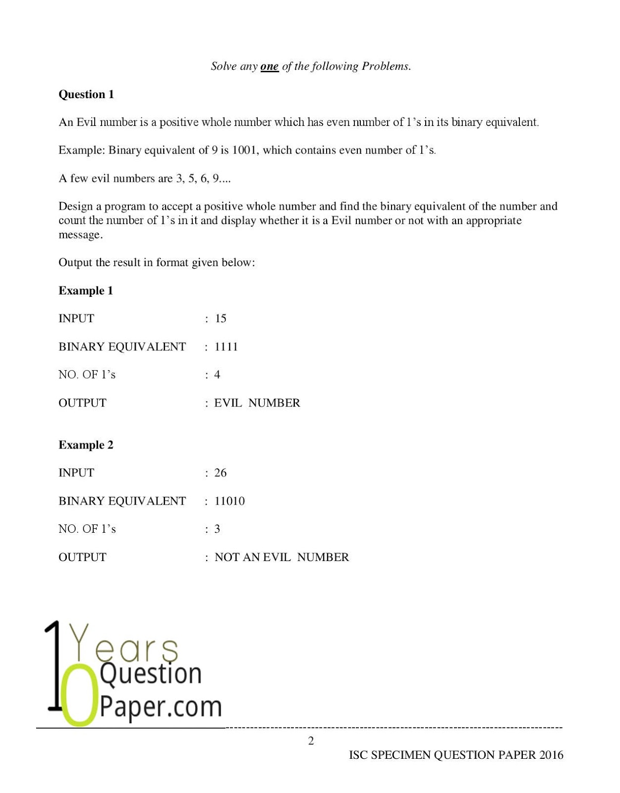 isc 2016 class 12th computer science Practical Specimen question paper2