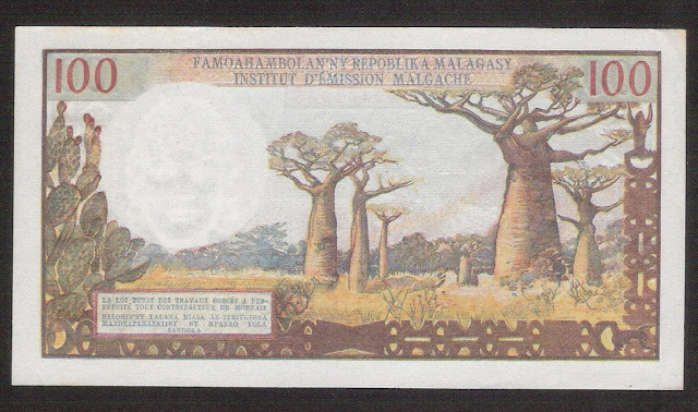 Madagascar currency 100 Francs banknote