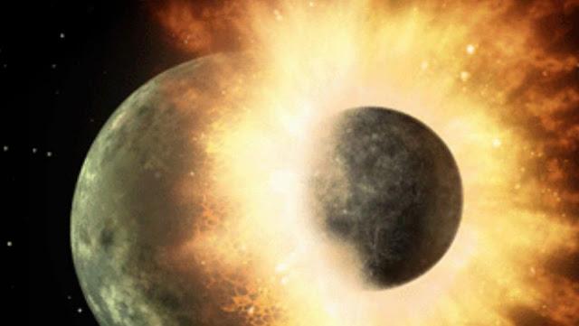 Ilustrasi hantaman benda planetoid pada Bumi sehingga terciptalah Bulan dari materi yang terlempar ke orbit