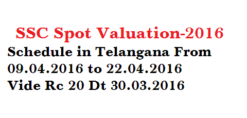 SSC Spot Valuation Schedule in Telangana State Vide RC 20 Dt 30.03.2016 Directorate of School Education Telangana State. Directorate of Govt Examinations Telanga State Hyderabad. SSC Public Examiantions March 2016 Conduct of Spot Valuation -Appointment of examiners-Certain Instructions issued