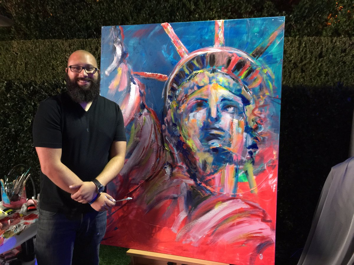 artist joe everson singing live painting the national