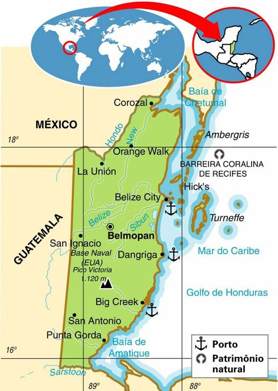 BELIZE, ASPECTOS GEOGRÁFICOS E SOCIOECONÔMICOS DO BELIZE