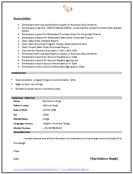 profile in resume samples