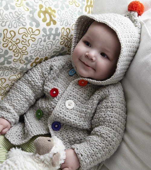 Crochet a cosy hooded jacket for baby - Free Pattern