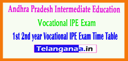 AP Intermediate 1st 2nd year Vocational IPE Exam Time Table 2018