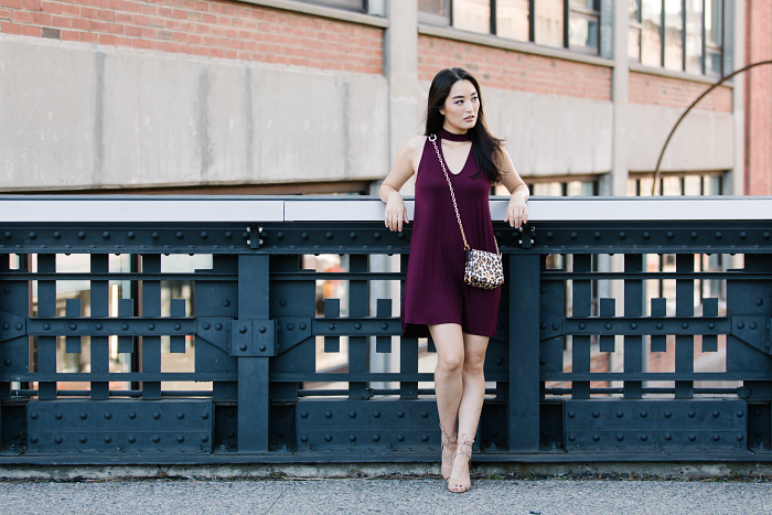 burgundy dress with beige lace up sandals