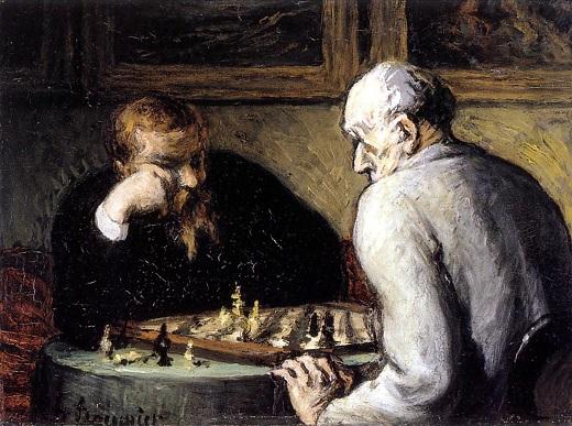 Les joueurs d'échecs, d'Honoré Daumier. Il y a un siècle et demi, les maîtres d'échecs utilisaient-ils déjà des « chunks » et des « templates » pour analyser le jeu?