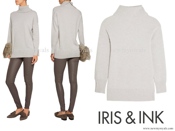 Kate Middleton wore IRIS AND INK Grace Cashmere Turtleneck Sweater