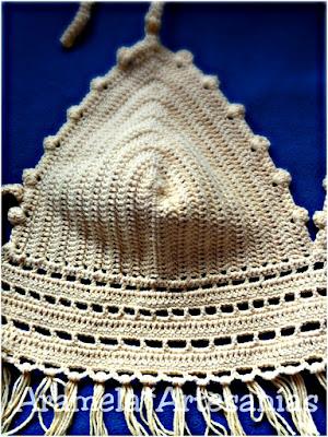 detalle de las tazas de top a crochet