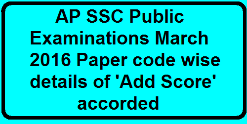 AP SSC Public Examinations March 2016 Paper code wise details of 'Add Score' accorded AP SSC Exam Subject Wise adding Marks. Telugu Additional Benefit marks, English, Hindi benefit score, Maths Marks. AP SSC Public Examinations March 2016 Paper code wise details of 'Add Score' accorded AP SSC Exam Subject Wise adding Marks. Telugu Additional Benefit marks, English, Hindi benefit score, Maths Marks.