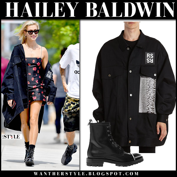 Hailey Baldwin in black oversized jacket raf simons, black floral dress and black boots alexander wang summer street fashion july 27