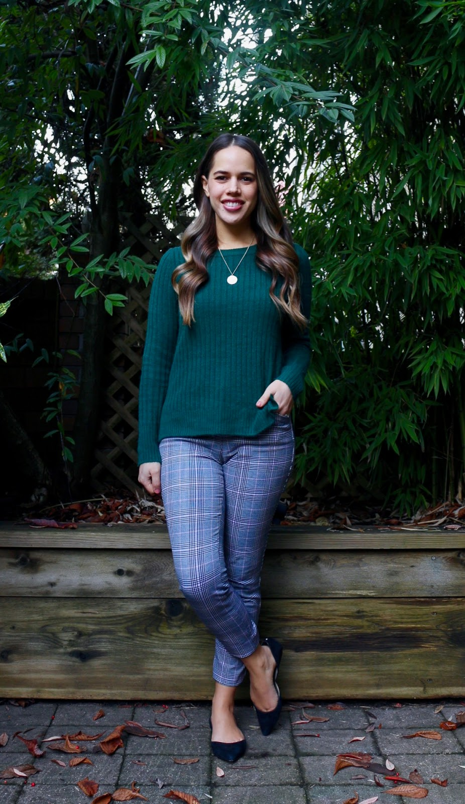 Jules in Flats - Old Navy Plaid Pants + Cozy Sweater (Business Casual Winter Workwear on a Budget)