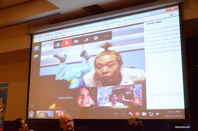 A Google Hangout with some of the international comedians was held