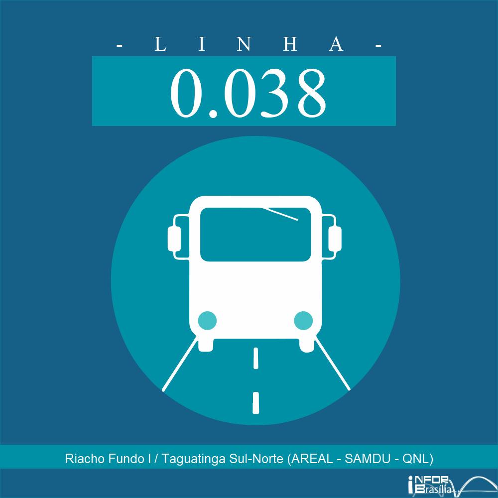 Horário de ônibus e itinerário 0.038 - Riacho Fundo I / Taguatinga Sul-Norte (AREAL - SAMDU - QNL)