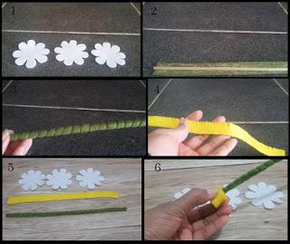 Tutorial cara membuat bunga daisy dari kain flanel part 1