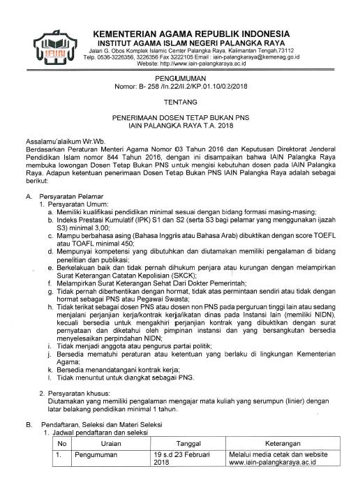 Lowongan 24 Dosen (Bahasa Aarab, Hukum Pidana, dll) IAIN Palangka Raya