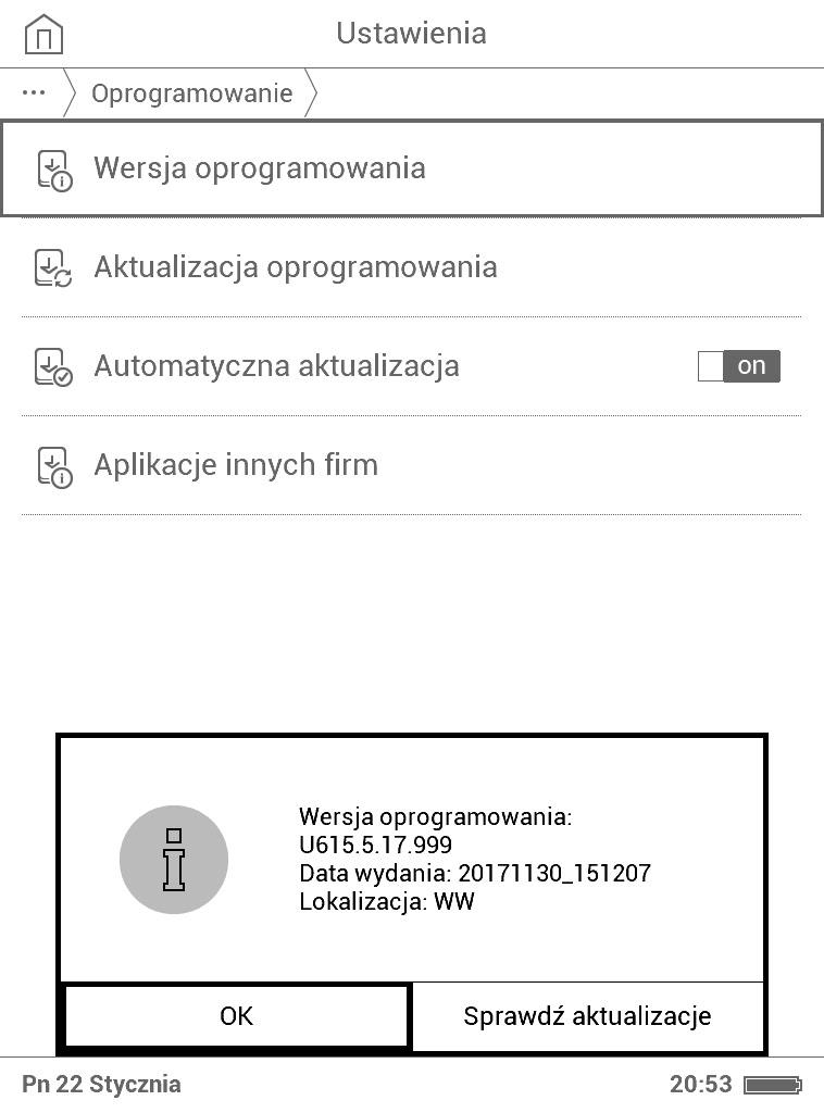 PocketBook Basic Lux - zrzut ekranu zkomunikatem o wersji oprogramowania