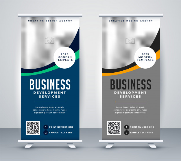 Abstract wavy business standee rollup banner design Free Vector