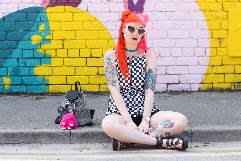Alternative Fashion Blogger Foxxtailz Style Love Too True Checkerboard Slip Dress